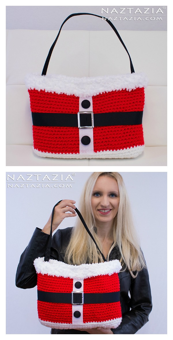 Santa Handbag Free Crochet Pattern and Video Tutorial