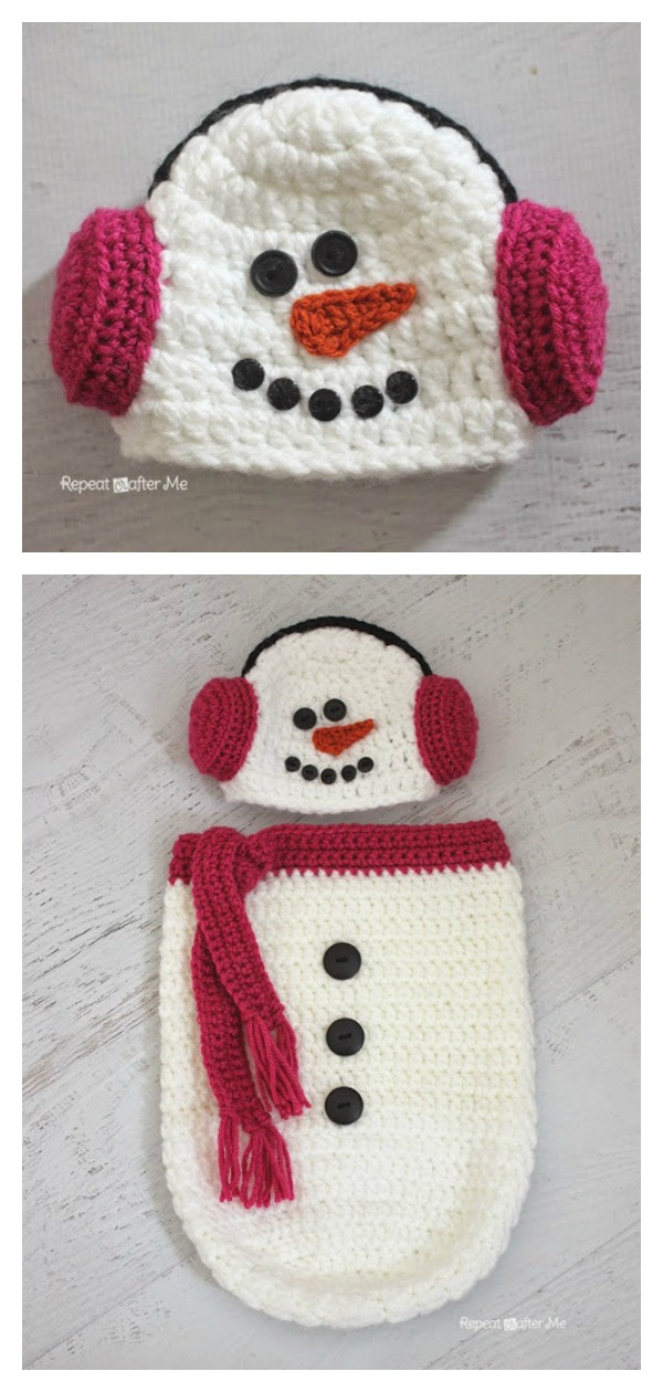 Snowman Ear Muff Hat and Cocoon Free Crochet Pattern