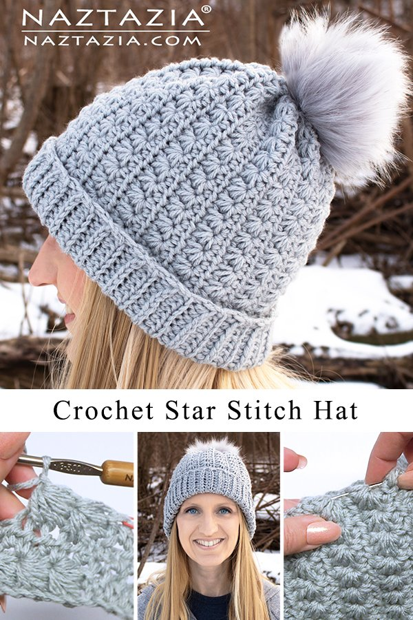 Star Stitch Beanie Hat Free Crochet Pattern and Video Tutorial