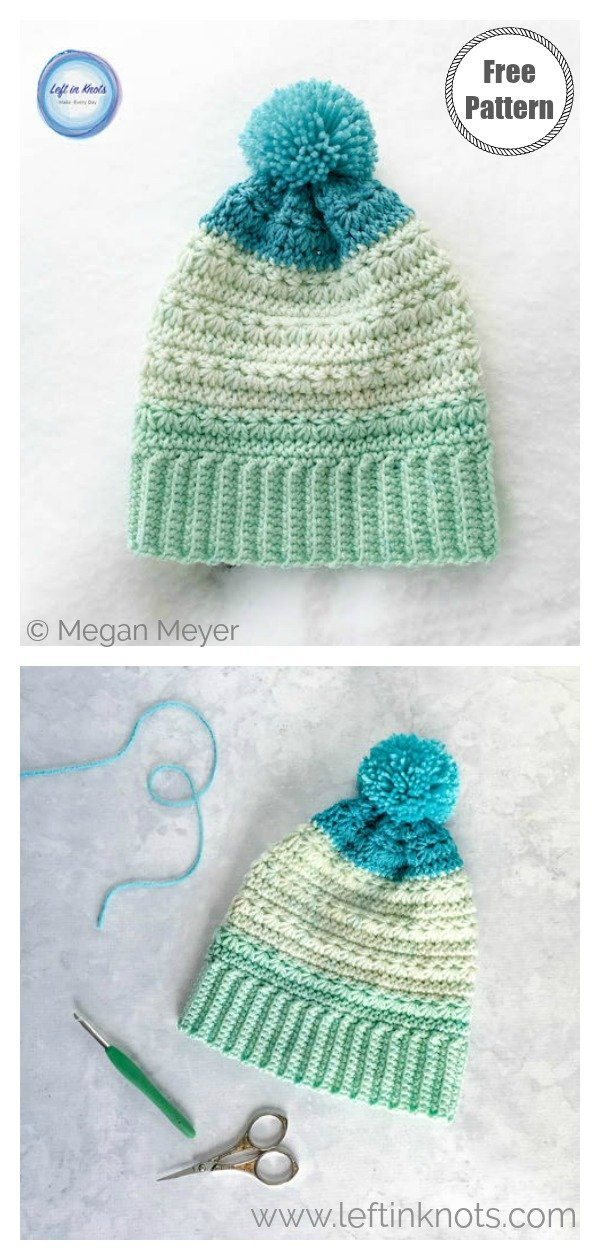 Star Stitch Snow Drops Slouch Hat Free Crochet Pattern
