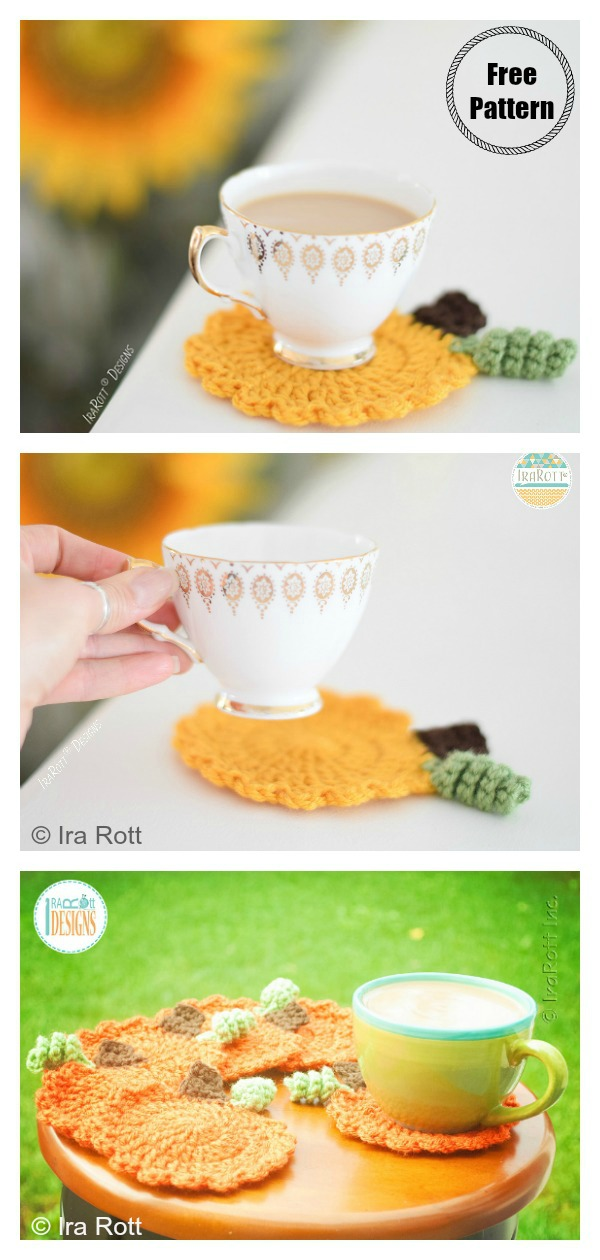 Tea Time Pumpkin Coasters Free Crochet Pattern