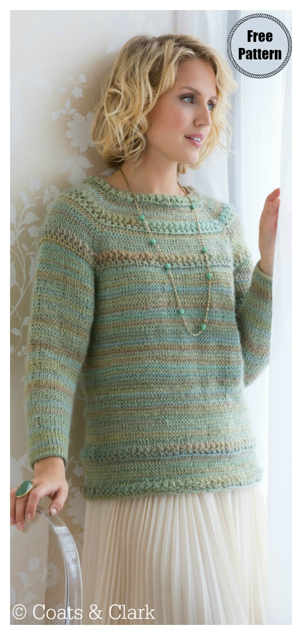 Tunisian Star Stitch Pullover Sweater Free Crochet Pattern