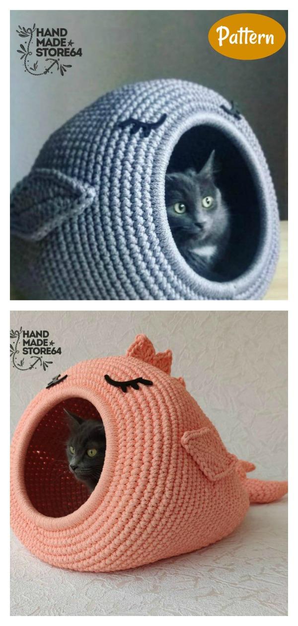 whale Cat House Pet Cave Crochet Pattern