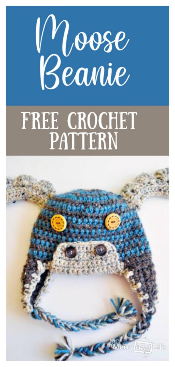 Adorable Moose Beanie Hat Free Crochet Pattern