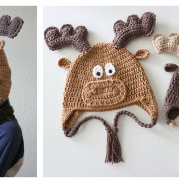 Adorable Moose Hat Free Crochet Pattern