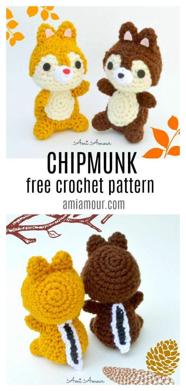 Amigurumi Chip and Dale Chipmunk Free Crochet Pattern