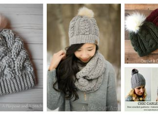Braided Cable Beanie Hat Free Crochet Pattern