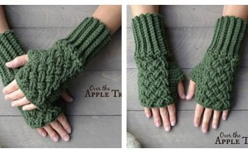 Celtic Weave Fingerless Gloves Free Crochet Pattern