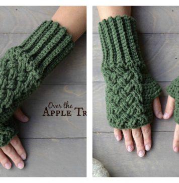 Celtic Weave Fingerless Gloves Free Crochet Pattern