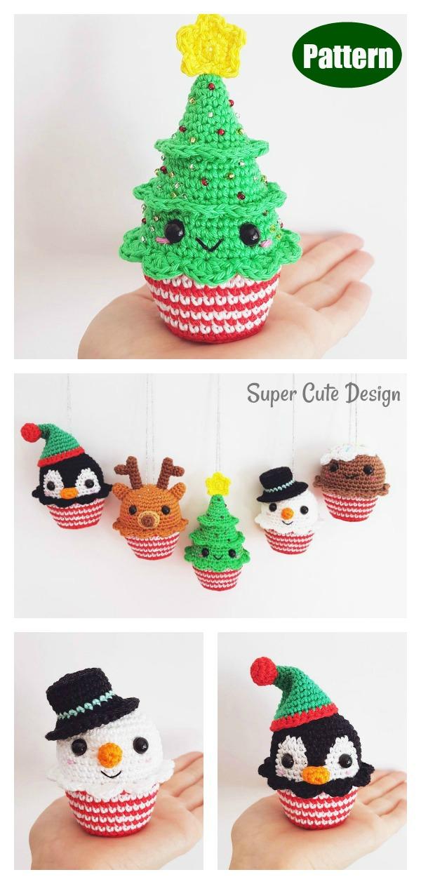 Christmas Cupcakes Tree Ornament Crochet Pattern