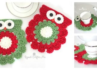 Christmas Owl Coaster Free Crochet Pattern