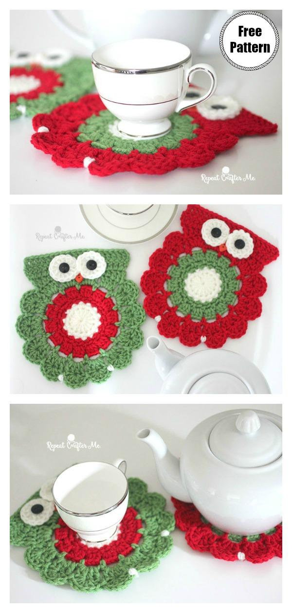 Christmas Owl Coaster Free Crochet Pattern