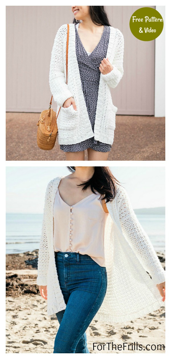 Easy Summer Cotton Pocket Cardigan Free Crochet Pattern and Video Tutorial