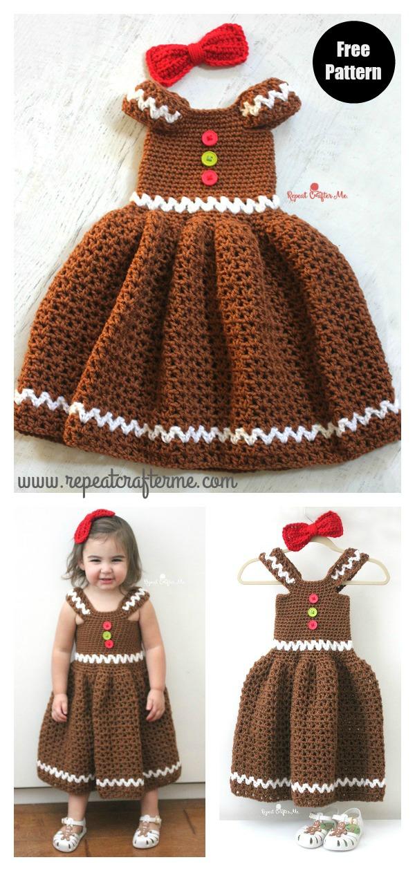 Gingerbread Girl Dress Free Crochet Pattern