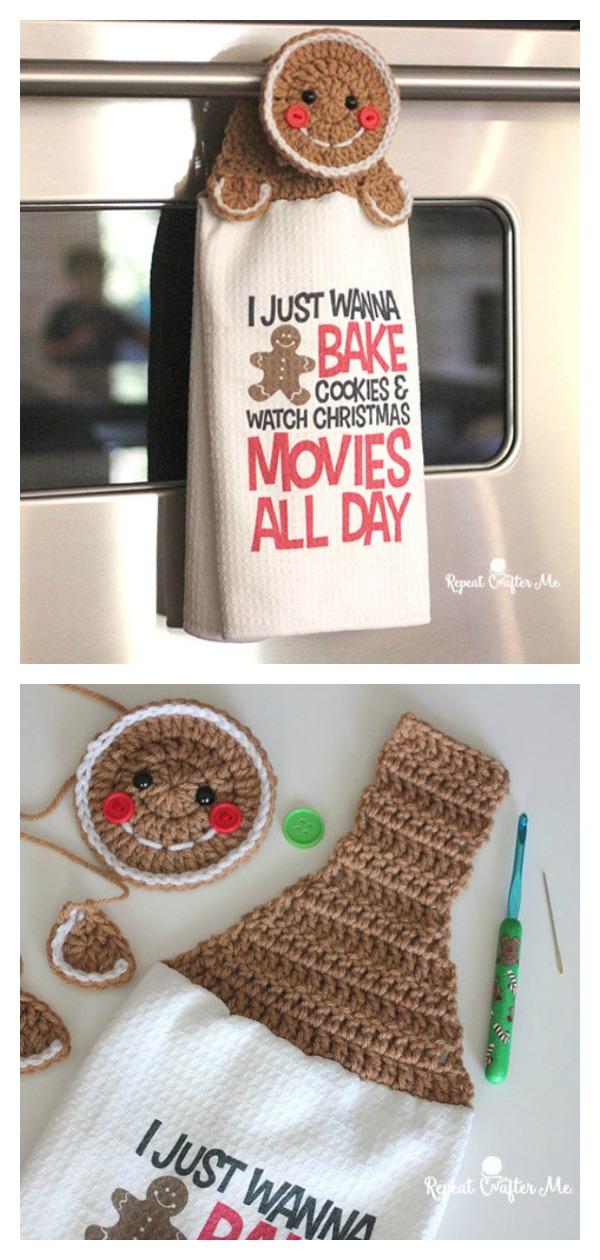 Gingerbread Towel Topper Free Crochet Pattern