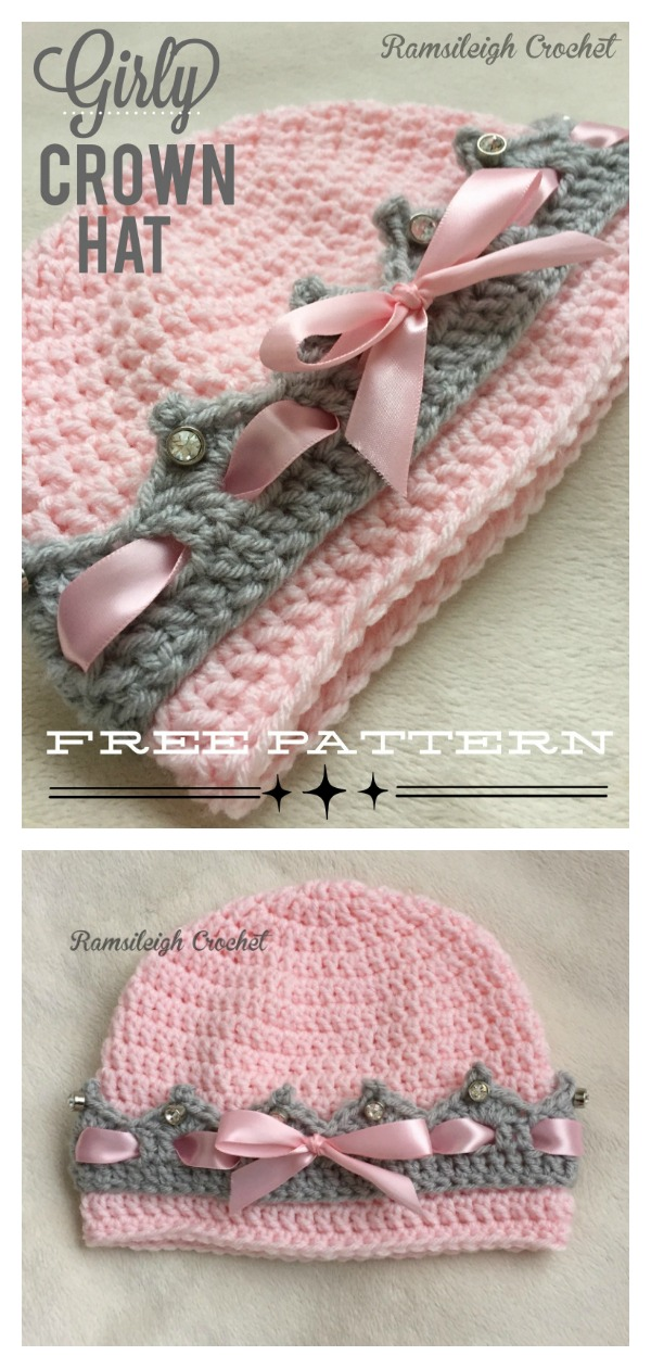 Girly Crown Hat Free Crochet Pattern