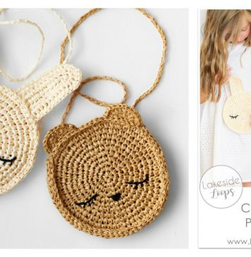 Kids Bunny and Bear Cross Body Bag Free Crochet Pattern