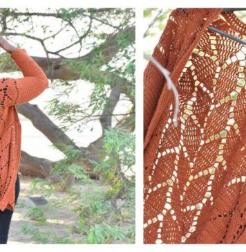 Leaf Lace Stitch Cardigan Free Crochet Pattern