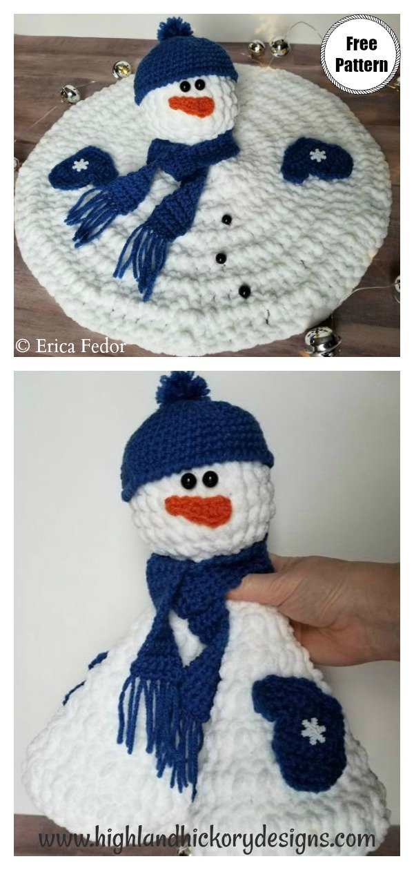 Melted Snowman Lovey Free Crochet Pattern