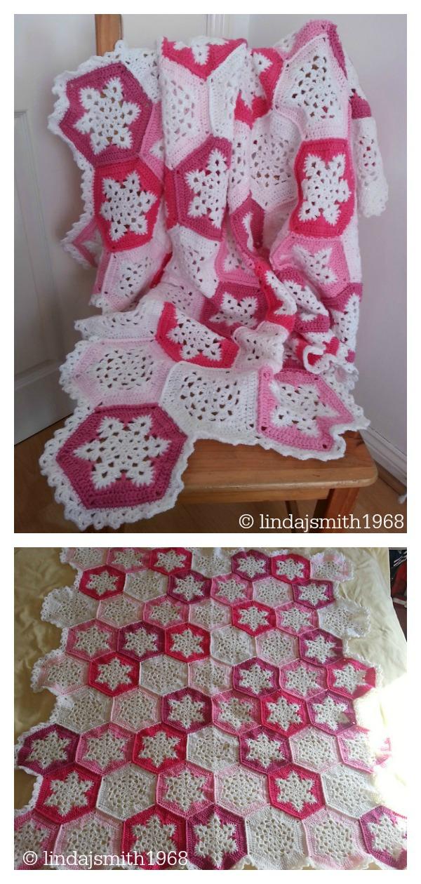 Pink Snowflake Afghan Blanket Free Crochet Pattern