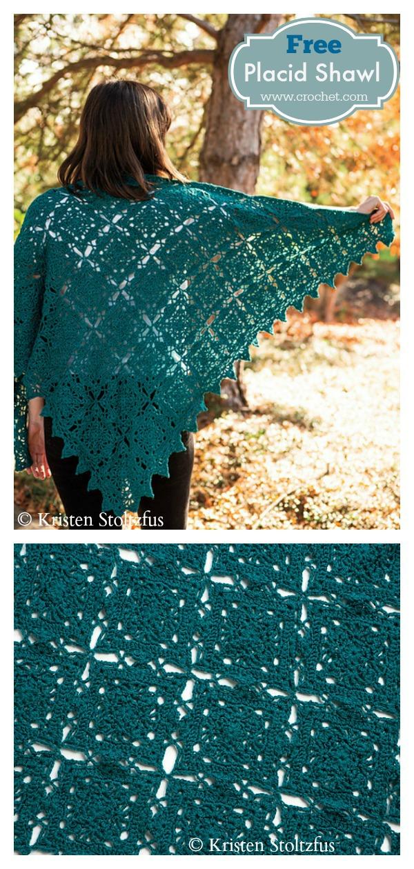 Placid Lace Shawl Free Crochet Pattern