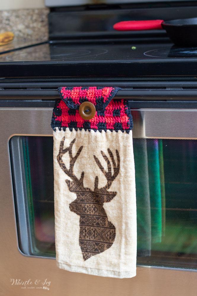 Plaid Towel Topper Free Crochet Pattern