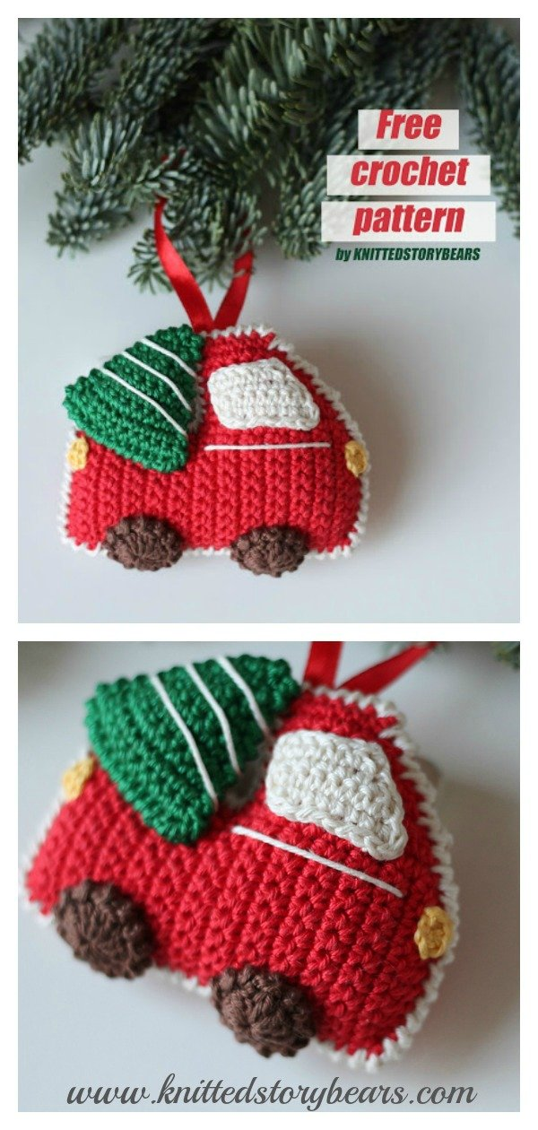 Red Car with Christmas Tree Ornament Free Crochet Pattern