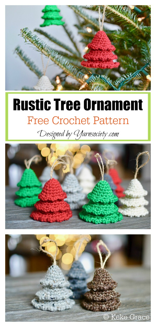 Rustic Tree Ornament Free Crochet Pattern