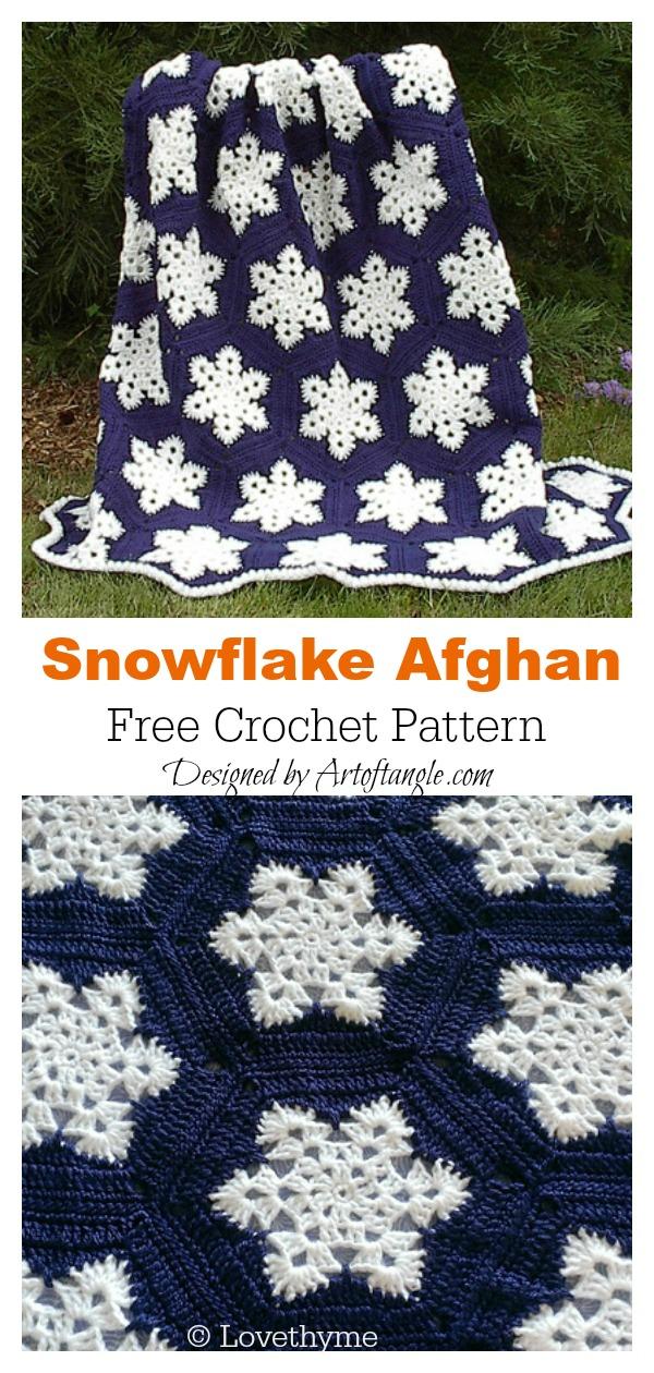 Snowflake Afghan Blanket Free Crochet Pattern