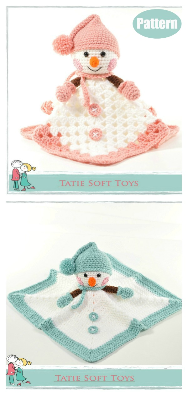 Snowman Lovey Security Blanket Crochet Pattern