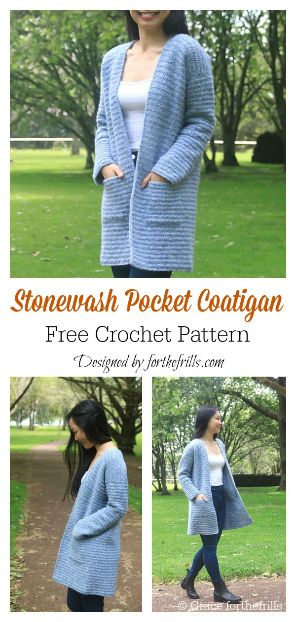 Stonewash Pocket Coatigan Easy Cardigan Free Crochet Pattern