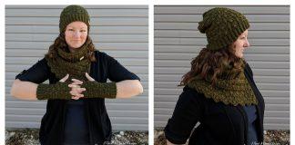 The Amphitrite Hat Cowl and Fingerless Gloves Set Free Crochet Pattern