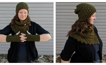 The Amphitrite Hat Cowl and Fingerless Gloves Set Free Crochet Pattern