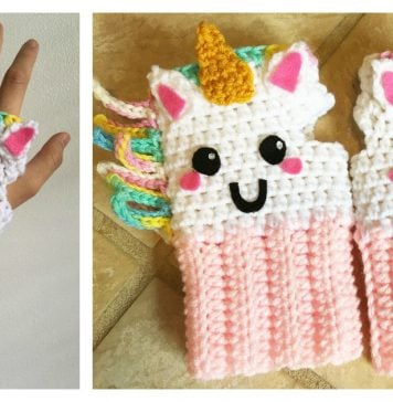 Unicorn Fingerless Gloves Free Crochet Pattern
