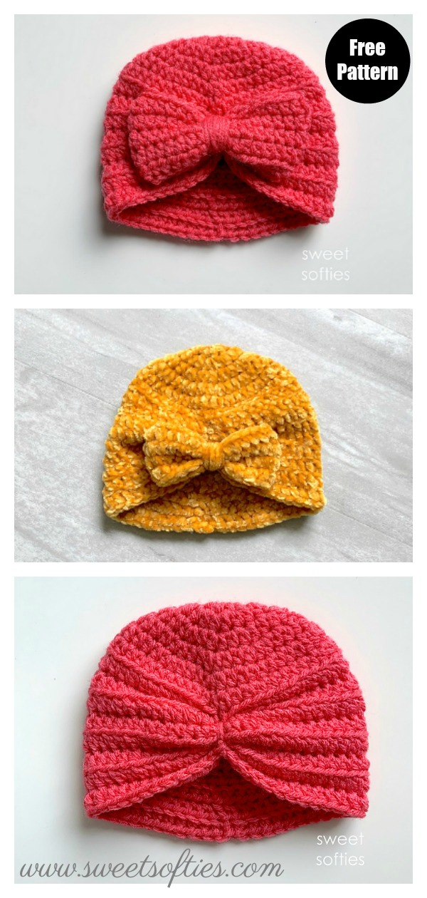 Baby Turban Hat with Bow Free Crochet Pattern