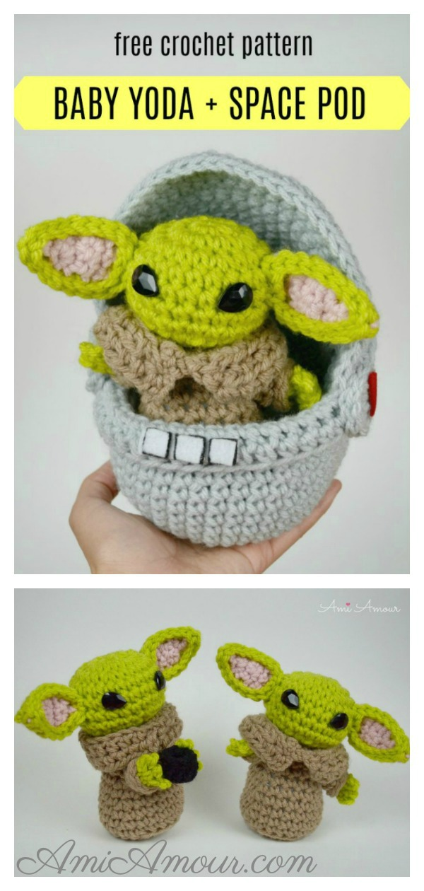 Baby Yoda Amigurumi and Space Pod Free Crochet Pattern