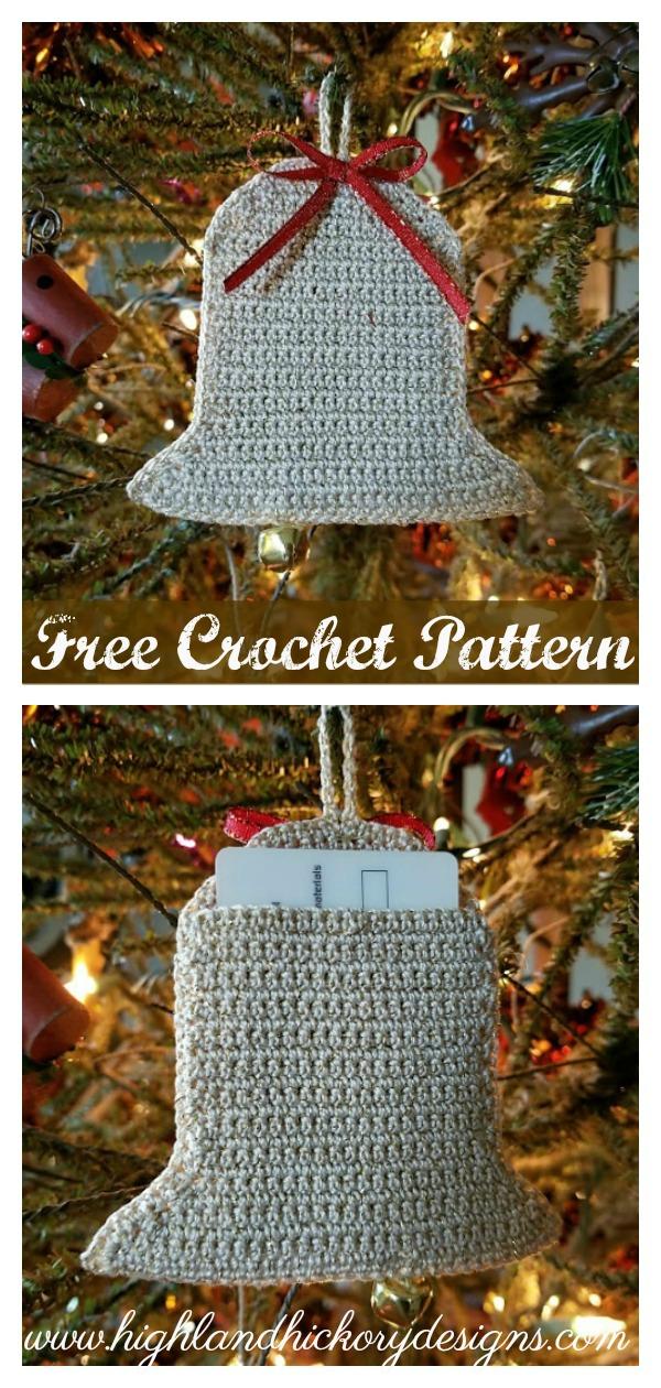 Bell Ornament or Gift Card Holder Free Crochet Pattern