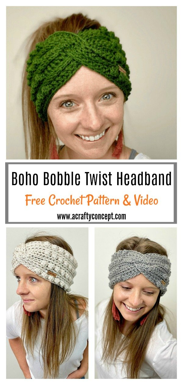 Boho Bobble Twist Headband Free Crochet Pattern and Video Tutorial