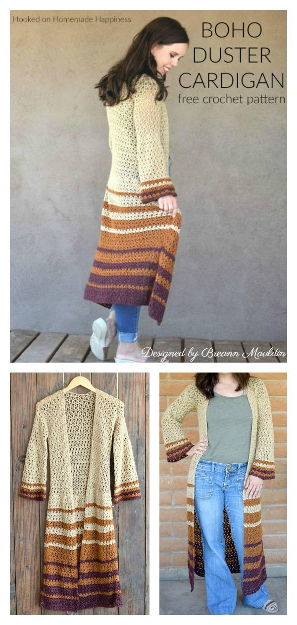 Boho Style Duster Cardigan Free Crochet Pattern
