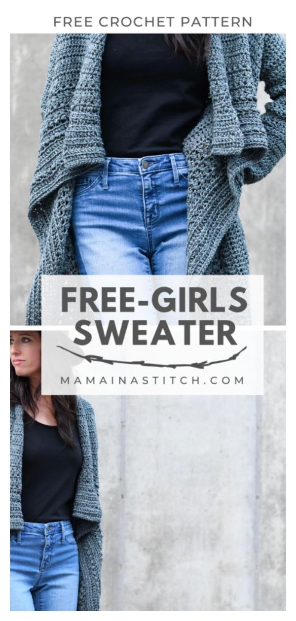 Boho Style Free Girls Sweater Free Crochet Pattern