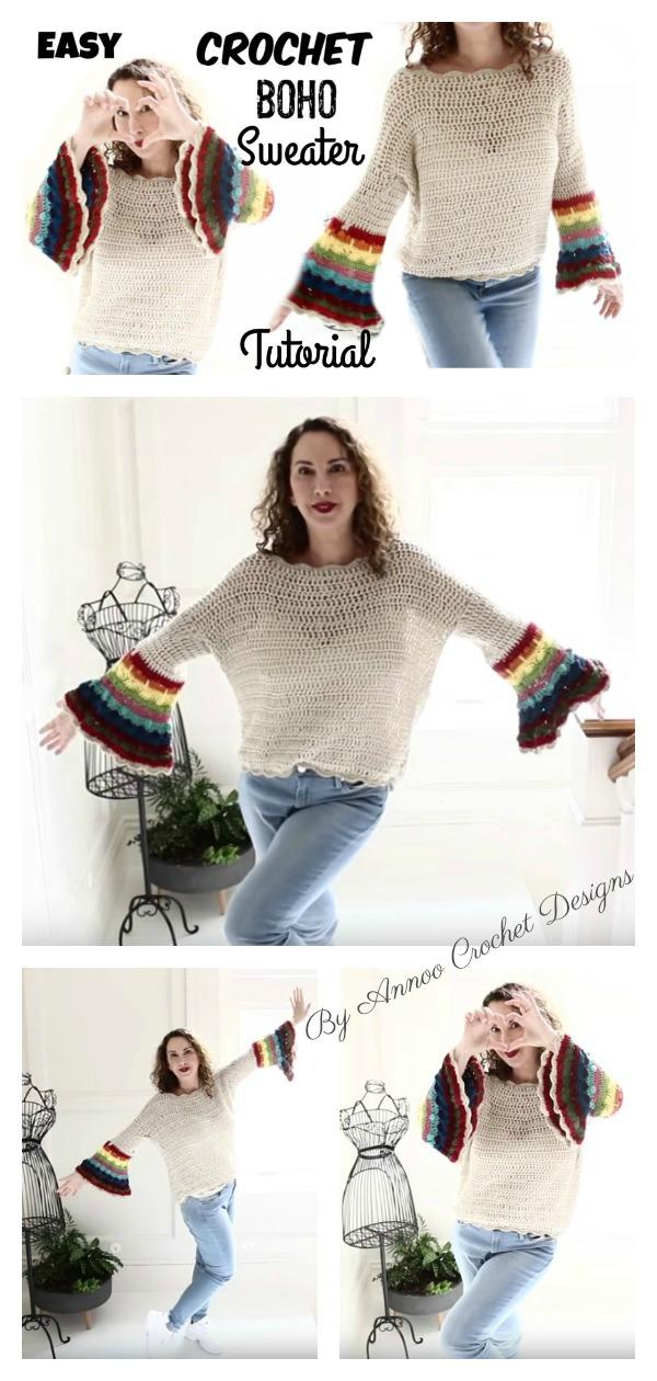 Boho Style Sweater Free Crochet Pattern and Video Tutorial