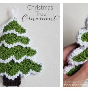 C2C Christmas Tree Ornament Free Crochet Pattern and Video Tutorial