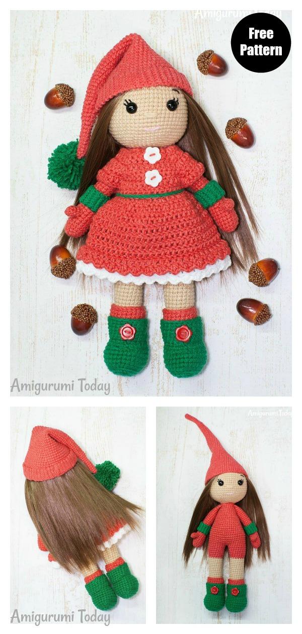 Christmas Amigurumi Doll Free Crochet Pattern