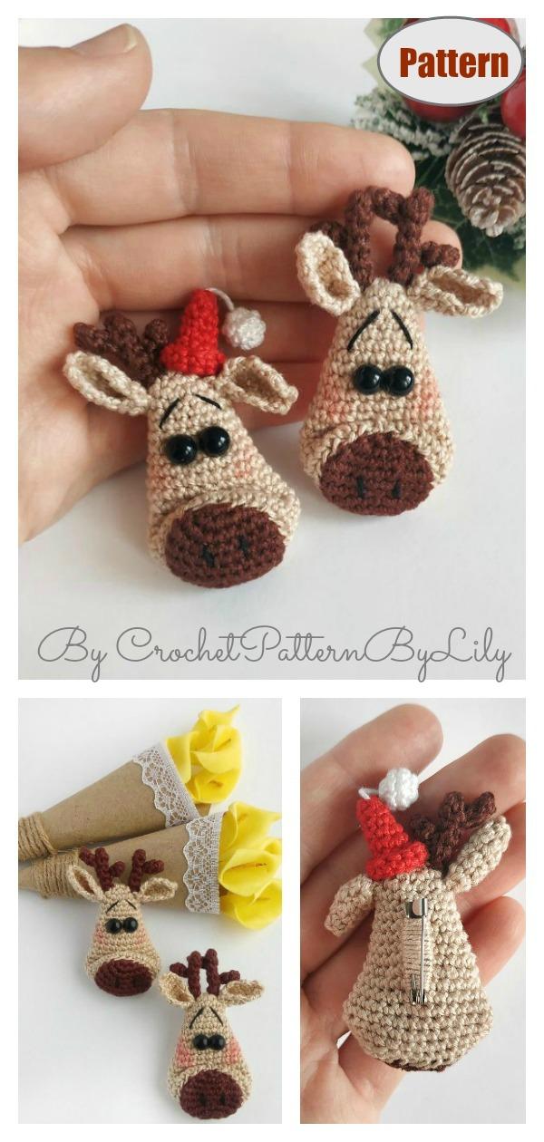 Christmas Deer Head Brooch Crochet Pattern
