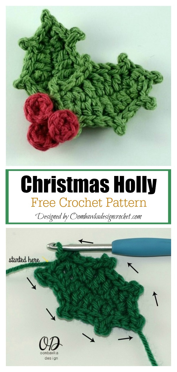 Christmas Holly Brooch Free Crochet Pattern