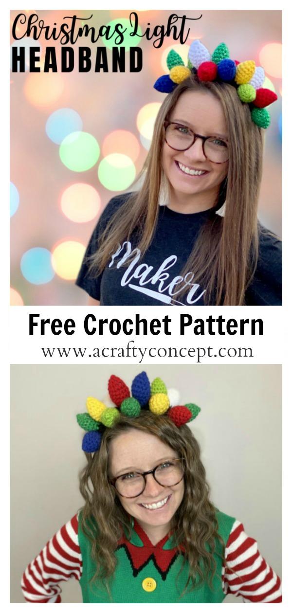 Christmas Light Headband Free Crochet Pattern