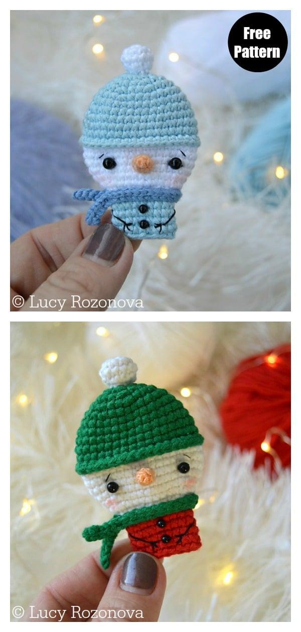 Christmas Snowman Brooch Free Crochet Pattern