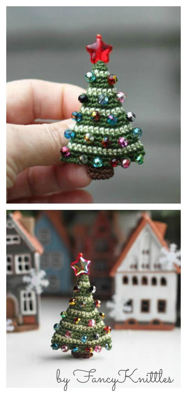 Crochet Christmas Tree Brooch
