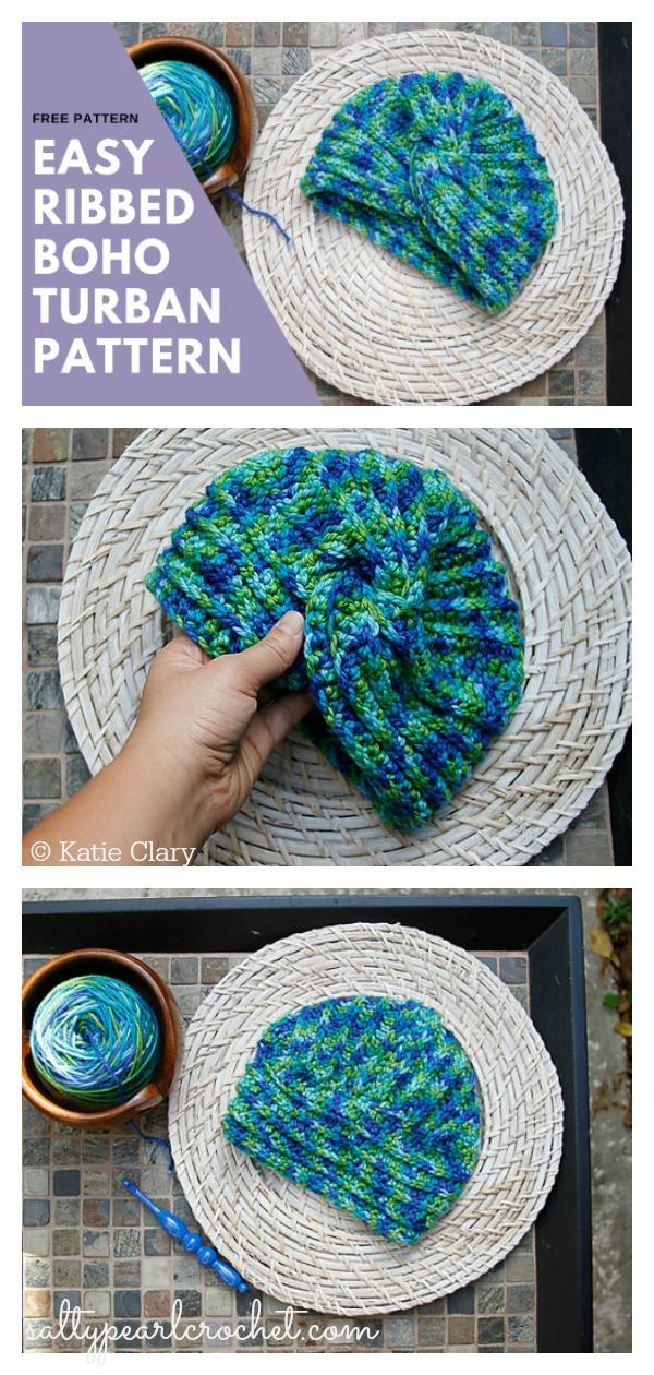 Easy Ribbed Boho Turban Hat Free Crochet Pattern