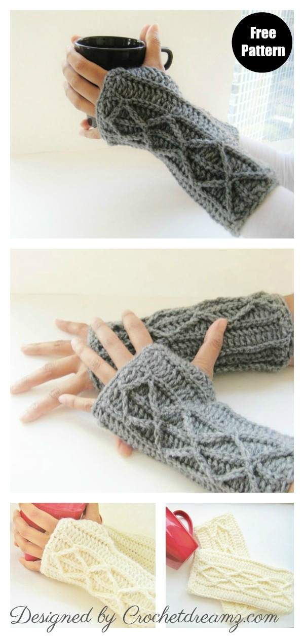 Faux Cables Fingerless Mitts Free Crochet Pattern